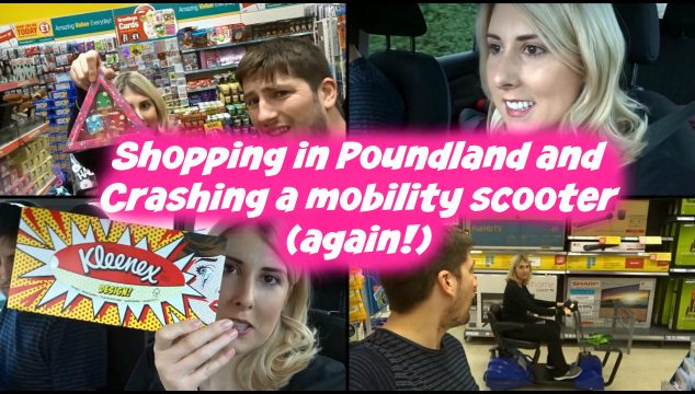 Shopping in Poundland and Crashing a mobility scooter (again!) 2016 Vlog